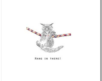 Hang In There Card, Cat Greeting Card, Blank Inside, Friendship, Animal Card