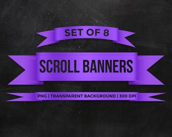 8 Purple scroll banners Clipart - Ribbon banners - Digital printable - Digital art - PNG with transparent background