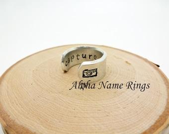 CAPTURE LIFE - Lightly Hammered Hand Stamped Adjustable Aluminum Ring.