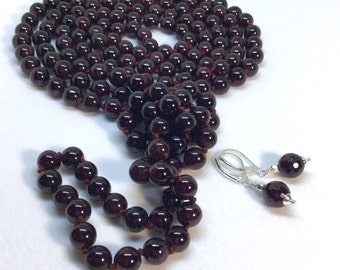 Garnet necklace garnet bead necklace stone bead knotted necklace 60 inches long sterling silver garnet earrings