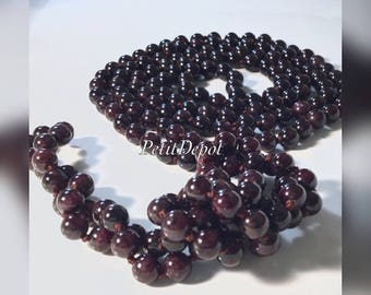 Natural Garnet Necklace Garnet Bead Necklace Long Stone Necklace Burgundy Necklace Knotted 60inches