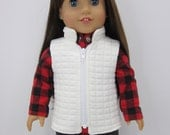 18 inch  doll clothes - RESERVED-  Ivory zippered   vest.