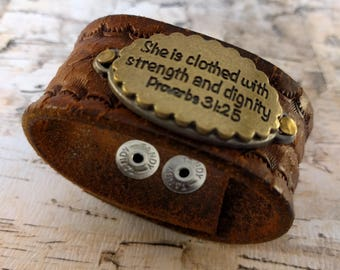 She is clothed with strength and dignity, Proverbs 31:25, Leather Cuff, Upcycled Belt, Repurposed, Distressed Leather, LookSomethingShiny