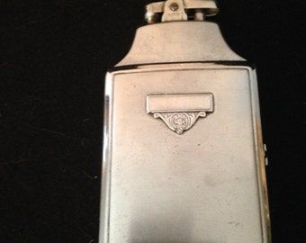 Ronson Lighter and Cigarette Case Silver Plated Tobacco Collectible Mid Century