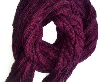 Bordeaux Wool long knit Scarves Hand knitted cable Scarf