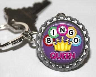 Bingo Queen Key Chain, Bottle Cap, Gift for Her, Gifts under 5, Keychain, Game, Bingo Grandma, Gamer Key Chain, Bingo Game, Party Game