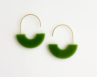 ARCH EARRINGS COLOR | green earrings, arch earrings, minimalist, gold, modern, cream, statement earring, circle, hanging earring, pink  |