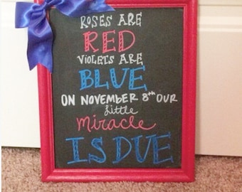 Fourth of july pregnancy announcement chalkboard red white & blue roses are red violets are blue