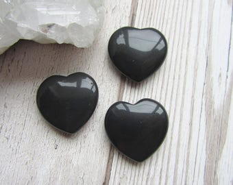 25x25mm Black Agate Gemstone Heart Carving, Carved, Gift Small Flat Heart