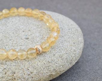 Citrine bracelet, Gold bracelet, Citrine jewelry, Gemstone bracelet, Yellow bracelet, Dainty bracelet, Citrine beads, Gift for her