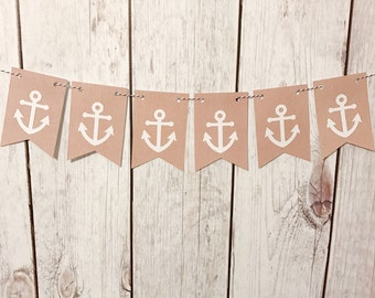 Anchor Banner, Nautical Banner, Lake House Sign, Nautical Nursery, Nautical Baby Shower, Nautical Birthday, Nautical Decor, Above Crib Decor