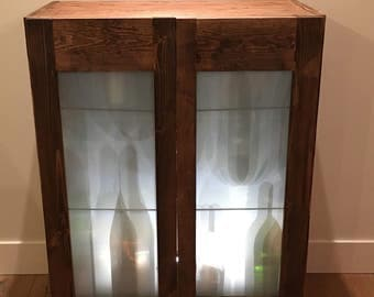 Industrial Reclaimed Wood Liquor Cabinet