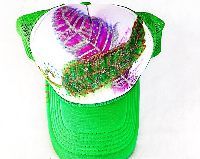 Hand Painted Tribal Watercolor Feathers with Metallic Detail and Glitter Sparkle Bright Green Trucker Hat, Festival Fashion
