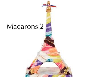 "Eiffel Tower - ""Macarons 2"" - Decoupage on wood - Mixed media art piece"
