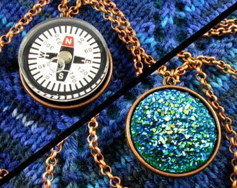 Double-Sided Compass Necklace - Light Compass, Faux Druzy, Copper