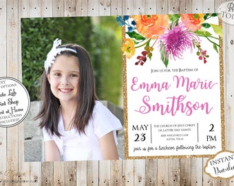 INSTANT DOWNLOAD - Editable LDS Baptism Invitation - Floral Glitter - Girl Baptism Invitation  - Printable baptism Announcement - Mormon