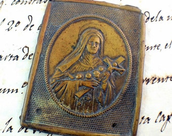 Saint Therese of Lisieux - Antique Metal Relief Plaque