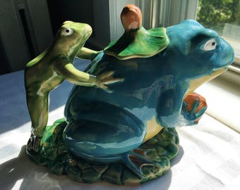 Vintage Frog Pitcher|Ceramic Frog Pitcher|Two Frogs|Playing Leap Frog|Decorative Pitcher|Frog Collection