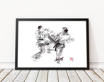 Karate, Martial Arts, Warrior Painting, Japanese Warrior, Calligraphy Art, Surreal, Modern Artwork, Bushido, Kyokushin