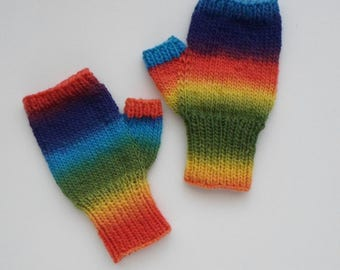 Rainbow Coloured Mitts Fingerless Gloves Adult Size Mitts Wool Blend - Ready to Ship
