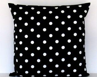 Black White Polka Dot Pillow Cover Decorative Throw Toss Accent 16x16 18x18 20x20 22x22 12x16 12x18 12x20 14x22 Zipper