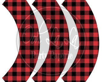 Printable Buffalo Plaid/Check Standard Size Cupcake Wrappers in Red  (INSTANT DOWNLOAD)