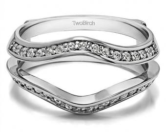 Open Classic Wedding Band Enhancer - Sterling Silver Ring Guard with .34ct White Cubic Zirconia