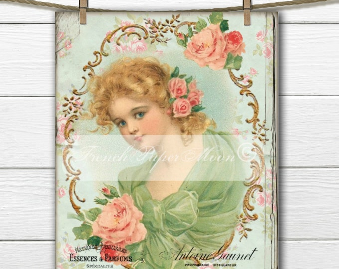 Digital Shabby Victorian Girl with French Graphics, Victorian Child, Printable Graphic Transfer, French Pillow Image