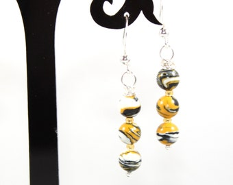 "1 1/2"" Wire Wrapped Mizzou Tigers Themed Tiger Striped Jasper Beaded Dangle Earrings on Antique Silvertone Nickel Free Earwires"