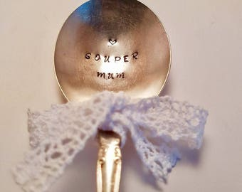 "Vintage silver plate soup spoon  - hand stamped with ""Souper Mum"" - Perfect for Mum for Mothers Day or Birthday Gift - Super mum"