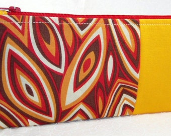 Retro Flames Zipper Bag: orange and gold cosmetic bag, flames fabric pencil case, hippie style makeup bag, brown and rust small zip pouch