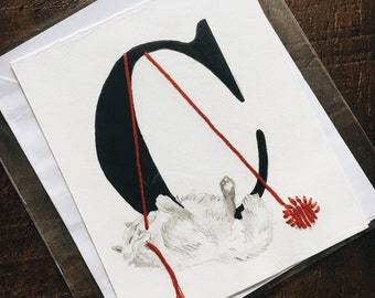 Blank Cat Lover's Embroidered Alphabet Card