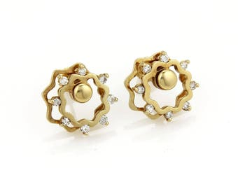 20618 - Vintage Diamonds 14K Yellow Gold Floral Stud Spinner Earrings
