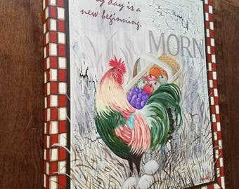 Clearance Sale! Large Rustic Farm Alarm rooster painting by Pamela Henry  country chic inspirational reds cream kitchen wall decor