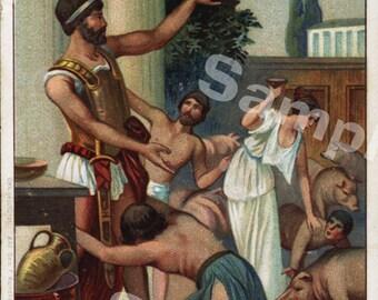 Original antique Victorian Trade card Odysseus and Kirke