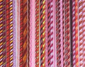 COE 90 Bullseye Glass Twistie Cane Lampwork Fusing Supply Reds Decor
