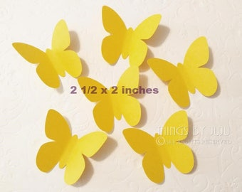 30 Yellow Paper Butterflies, Large Yellow Butterfly Punch, Die Cut Yellow Butterfly, Butterfly Party Decor  (2 1/2 x 2 inches)