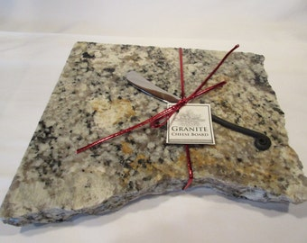 Granite Cheese Board, Medium size, gray and black mix, includes wrought iron style cheese knife