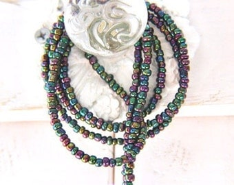 Beaded lanyard for keys - Beaded lanyard with id holder