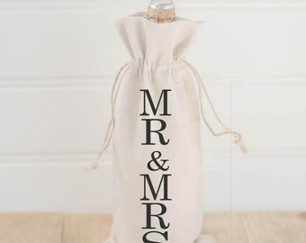 Mr & Mrs Calligraphy Wine Bag
