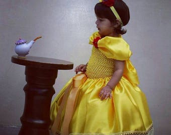 3 PIECES.  Beauty and the Beast.  BELLE INSPIRED. Yellow Dress. Princess Dress.  Belle Costume.