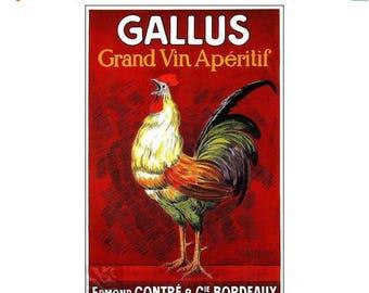 Gallus Wine Bordeaux France Vintage Poster Art Print Wine Aperitif Rooster Advert Free US Post Low EU Post