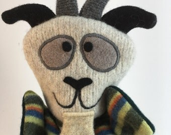 Goat Puppet-- Made from felted wool sweaters--Free Shipping!