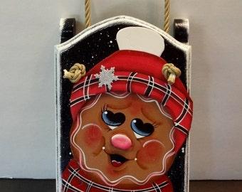 Gingerbread Christmas Sled, Wooden Sleigh, Christmas Sleigh, Santa's Sleigh, Gingerbread Decor, Holiday Decor, Home Decor,