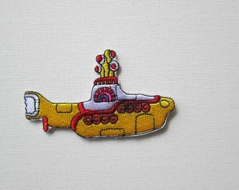 Iron On Yellow Submarine Patch, Embroidered patch, Beatles patch, we all live in a yellow submarine, Retro submarine patch, hippy patch