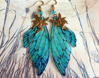 Fairy Wing Earrings, Fairy Earrings, Faerie Earrings, Iridescent Turquoise Earrings, Hand Painted, Blue Dangle Earrings, Boho, Hippy