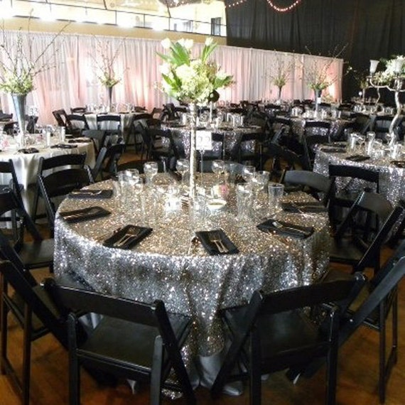 Silver Sequin Tablecloth Round Wedding Tablecloth Sparkle