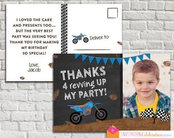 Dirt Bike Thank You Card - Photo - Birthday - Postcard - Racing - Choose Digital or Printed