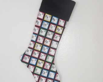 Personalized Chemistry Christmas Stocking - Fun, Colorful, Modern - Periodic Table - Scientist Student Teacher - Free Personalization