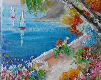Greek landscape 2  Original Oil Painting 18/24 sm(7/9,50 in) Hand painted work
